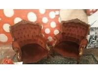 Pair of French Louis armchairs