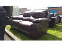 Code 42 - 2 Seater Brown Leather Recliner Cheap Damage Clearance Sofa