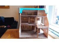 Sylvanian blue mansion with furniture