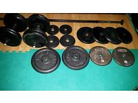 Set of 104kg metal weights and bars
