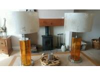 Pair of large orange glass table lamps