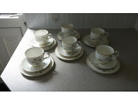 Tea set, 6 cup, saucer & side plate