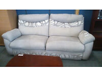 Patterned 2 seater fabric recliner sofa