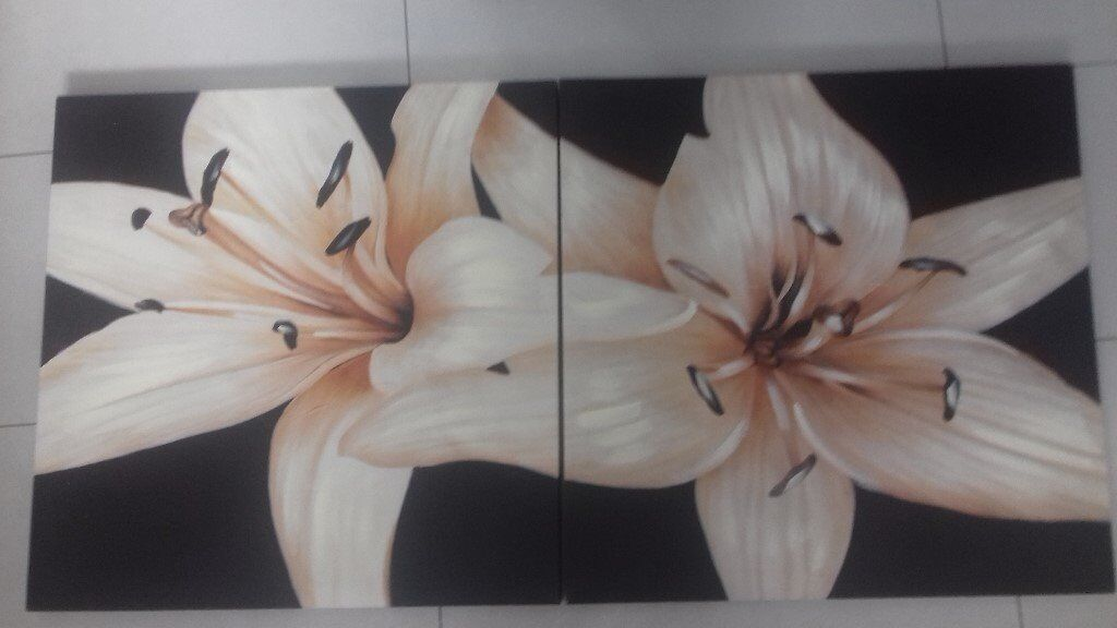 large brown/cream lily flower canvas x 2 pieces