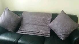 Purple Roman blind and matching cushions from Next