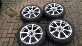 "GENUINE FIAT 500 ABARTH 16"" ALLOY WHEELS WITH CONTINENTAL TYRES"