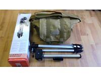 (£30)PYRAMID P-60 Camera Tripod + Ohuhu Brown dslr Digital Camera gadget organizer bag.