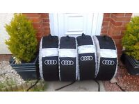 Full set of 4 Audi alloy wheels and dunlop tyres