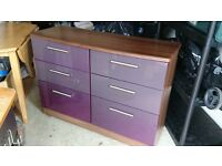 Purple and Walnut Chest of Drawers, buyer collects Tranent.
