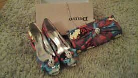 Size 6 Dune multi colour kitten heels and matching bag