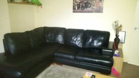 DFS Black leather corner sofa vgc 3 years old.