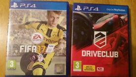 FIFA 17 AND DRIVE CLUB FOR PS4