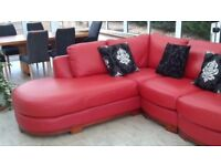 Lovely Red leather chaise sofa. In great condition.