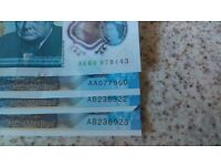 Rare 5 pound note selection, one bank of england ak, bank of scotland aa and two sequential ab notes