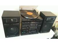 PHILIPS Turntable Stereo HiFi System EQs Speakers Tape Player iPhone AUX input
