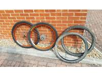 Superstar DH-595 Mountain Bike Wheels on matching hubs with Spare Tyres