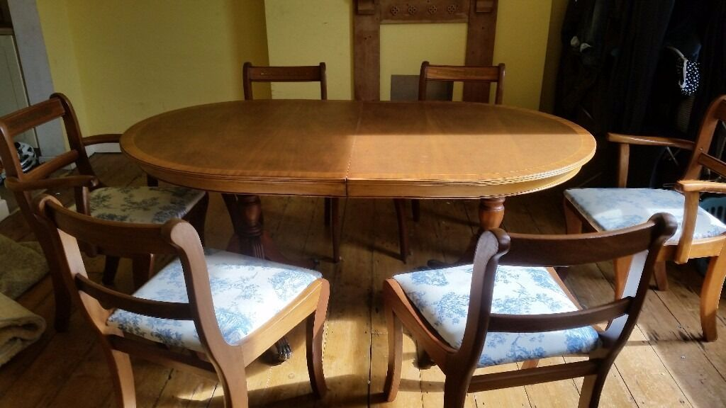 Dining table (with six chairsin St Pauls, BristolGumtree - Dining table, able to seat six, in good condition. Offering with six chairs. Two of chairs are broken and fabric upholstery is showing wear, hence the price as only charging for the table! Asking £30 ONO. Buyer to collect. Table separates into two...