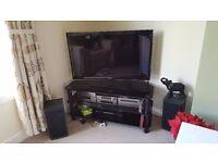 LAST CHANCE TO BUY large black glass tv unit