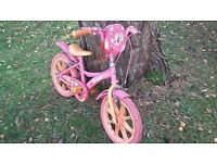 Child's bike (Barbie-themed), suit approx age 3-7