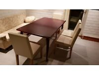 Dark Wood Dining Table 6 Seater And Chairs