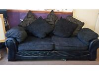FOR SALE BLACK /GREY TWO AND THREE SEATER SOFA