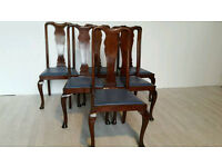 Set of Six Queen Anne Style Mahogany Highback Dining Chairs #002