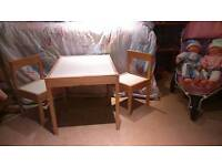 Child's craft table and 2 chairs