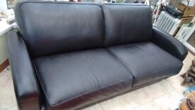 Sofa, large, bonded leather, black in very good condition