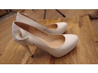 Pristine Ivory high heeled Sinta Gamma Wedding shoes leather outside and in worn once -Size 38 (UK5)