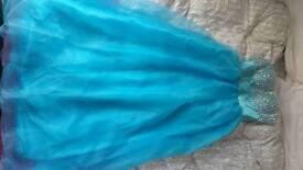 Full length strapless blue dress