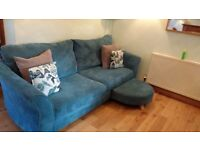 Dfs teal 4 seater sofa and swivel cuddle chair