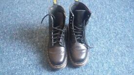 Black Leather Doc Martens Boots Size 5