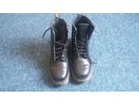 Black Leather Doc Martens Boots Size 5