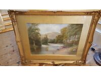 antique painting in original frame, signed and dated 1912
