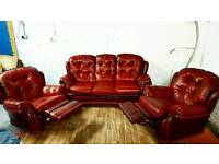 Vintage senatro chesterfield leather 3 seater with 2 recliner chairs **Free delivery**