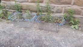Vintage Retro Plastic Coated Metal Iron Shopping Basket Blue **Pair Available