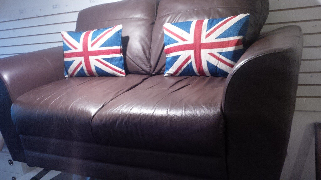 2 X 2 SEATER BROWN LEATHER SOFAS ULTIMATE COMFORT LENGTH OF EACH SOFA IS 62 INCHES LONG