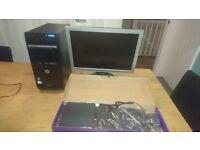 HP Dual Core PC + 19in Monitor Windows 7 + Office 2010