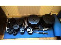 Standard sized barbells, EZ bar, tricep bar, and dumbbells 263kg weights