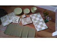 Green tableware/dining set- crockery/napkins/placemats/wine glasses