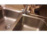 Blanco stainless steel double sink with draining board