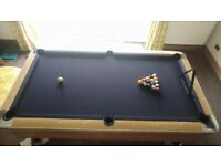 7'x4' Sam Bison pool table, one single solid slate bed american style pool table with balls