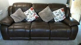 3 seater leather recliner and chair