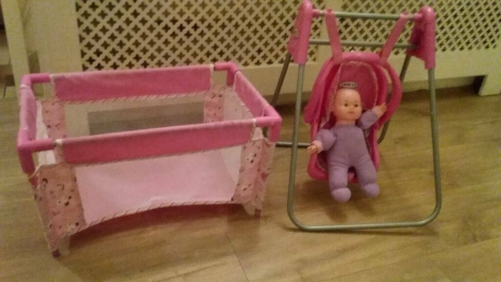 Dolls cot and high chair/swing