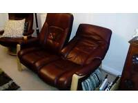 2 x Zerostress leather reclining settees