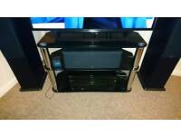 Black glass TV corner unit