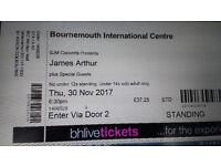 James Arthur 2 tickets at Bournemouth BIC Thursday November 30th