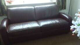 DFS Leather Sofa 3 Seater Burgundy PLUM Footstool QUALITY LEATHER