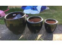 Black Terracotta garden plant pots x3 rrp £110