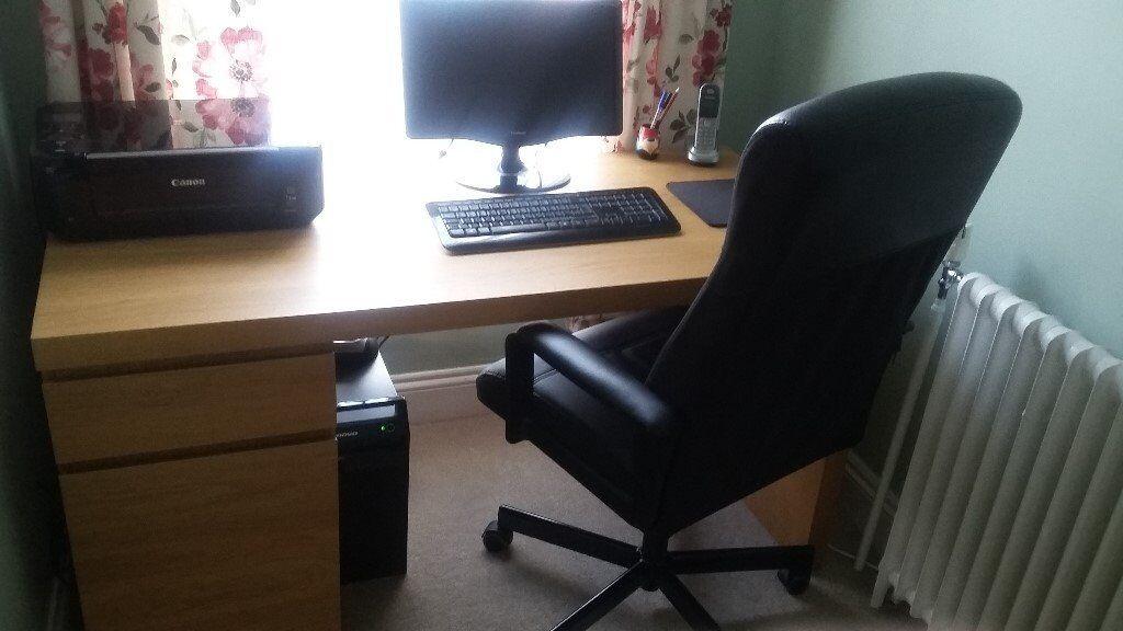 Large Ikea Malm Oak Veneer Desk And Black Leather Effect